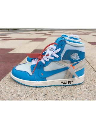 Кроссовки Nike Air Jordan 1 Retro High x OFF White Голубые