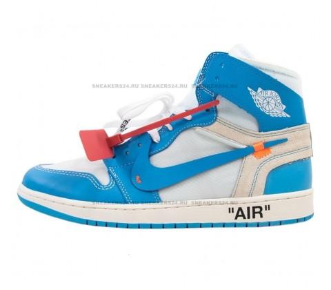 Кроссовки Nike Air Jordan 1 Retro High x OFF White Голубые