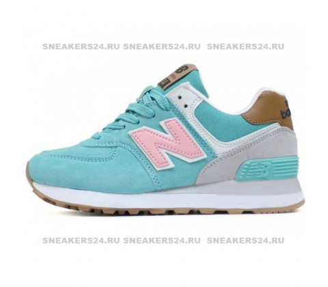 Кроссовки New Balance 574 Suede Turquoise/Pink