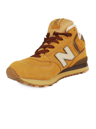 Кроссовки New Balance 574 High Orange/Brown With Fur