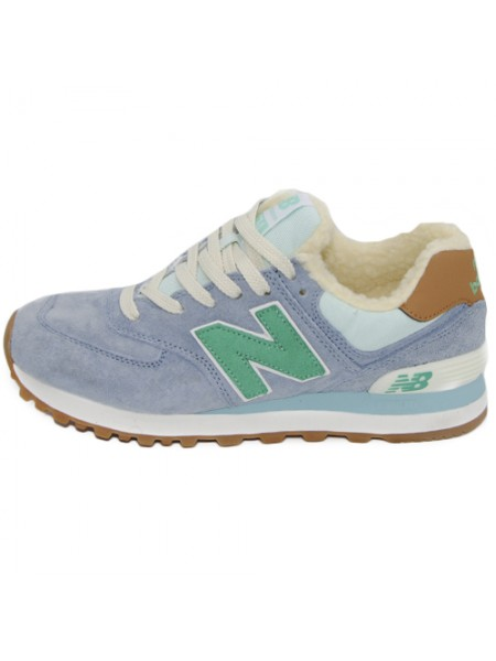 Кроссовки New Balance 574 Light Blue/Green With Fur