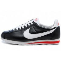 Кроссовки Nike Cortez New Collection All Black/White/Red Leather