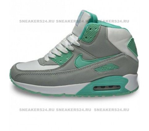 Кроссовки Nike Air Max 90 Gray/Mint With Fur