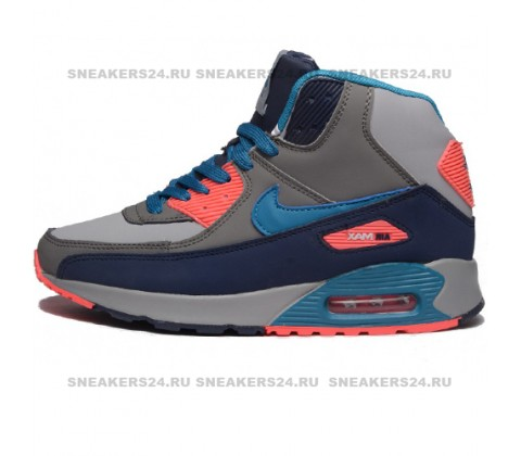 Кроссовки Nike Air Max 90 Gray/Blue With Fur