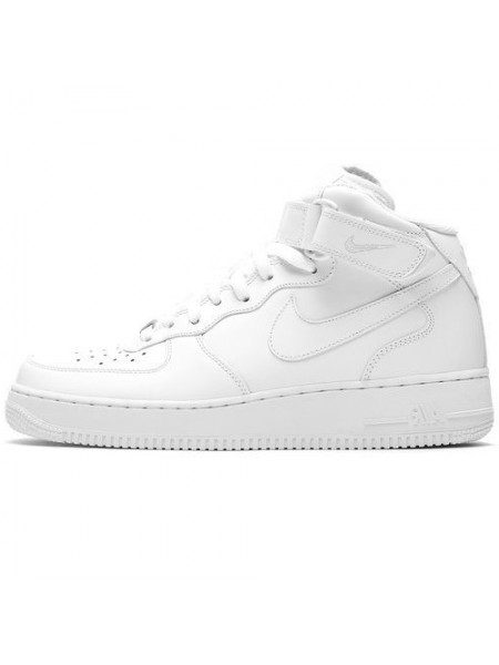 Кроссовки Nike Air Force 1 Mid All White With Fur
