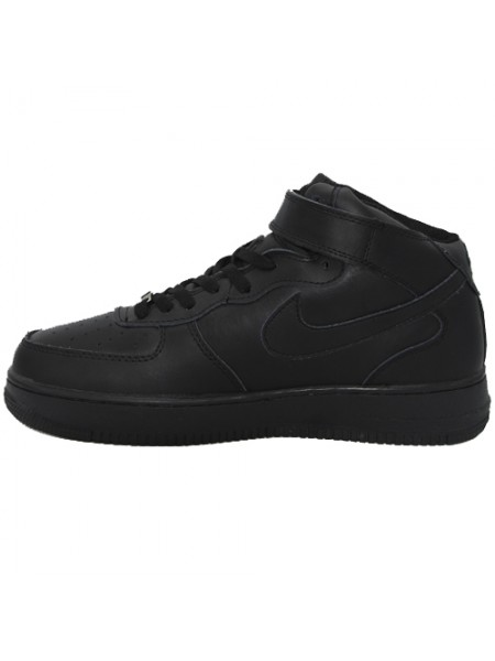 Кроссовки Nike Air Force 1 Mid All Black With Fur