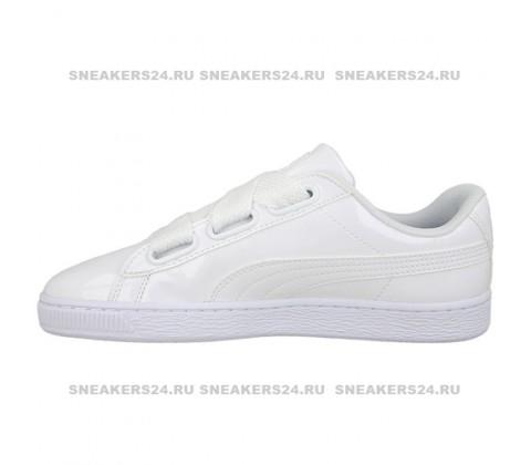 Кроссовки Puma Basket Heart Patent White Bow