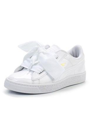 Кроссовки Puma Basket Heart Patent White Bow