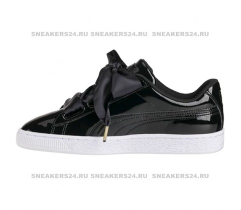 Кроссовки Puma Basket Heart Patent Black Bow