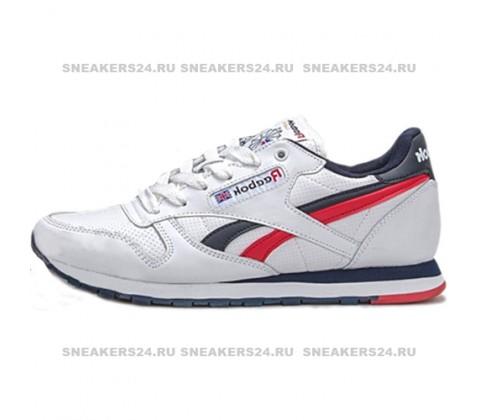Кроссовки Reebok Classic Leather White/Blue/Red/Camo