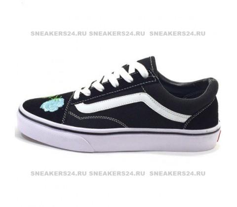 Vans Low Old Skool Black/Light Blue Flowers