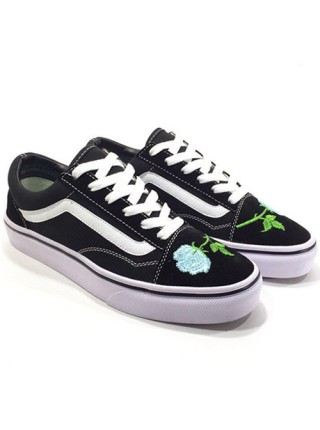 Vans Low Old Skool Black/Light Blue Flowers
