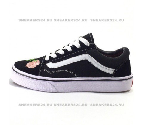 Vans Low Old Skool Black/Light Pink Flowers
