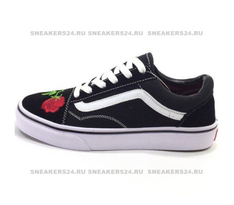 Vans Low Old Skool Black/Light Purple Flowers