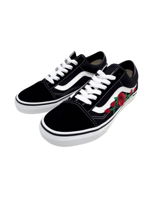 Vans Low Old Skool Black/White/Red Flowers