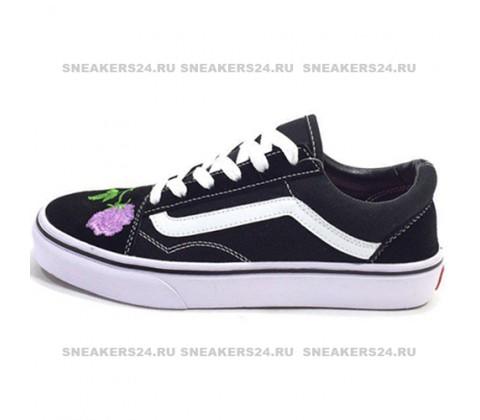 Vans Low Old Skool Black/Light Purple Flowers