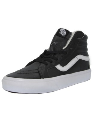Кеды Vans Old Skool High Black/White With White Fur
